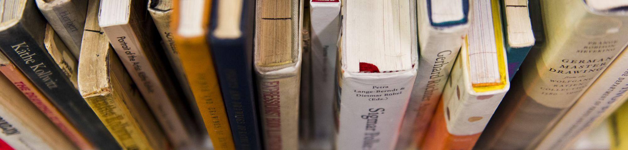 Overhead photo of a shelf of books