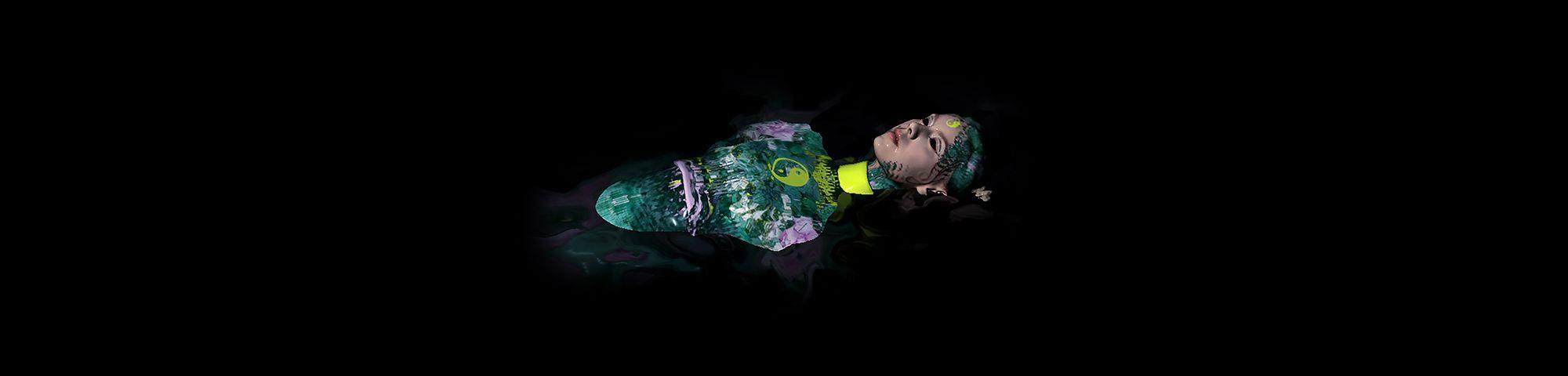 Digital illustration of body floating on black background
