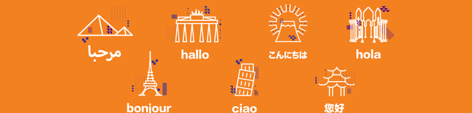icons for different countries and hello in different languages - Arabic, French, German, Italian, Japanese, Mandarin, Spanish