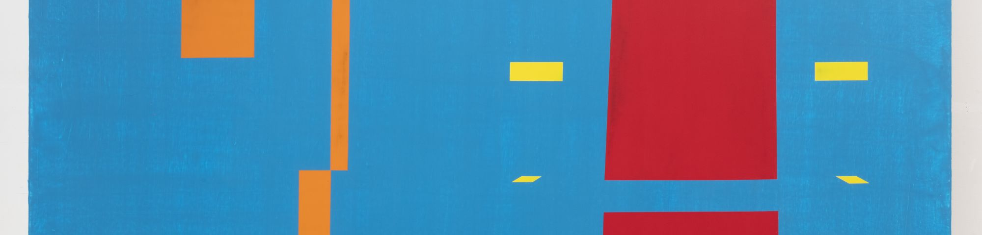 An abstract painting of blocks in red, orange and yellow against a blue background