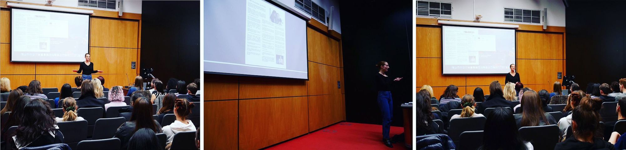 Victoire Duaxerre giving presentation in lecture hall