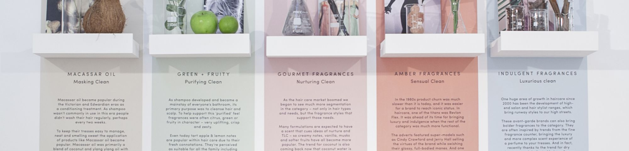Five shelves with cosmetic products and description of the ingredients