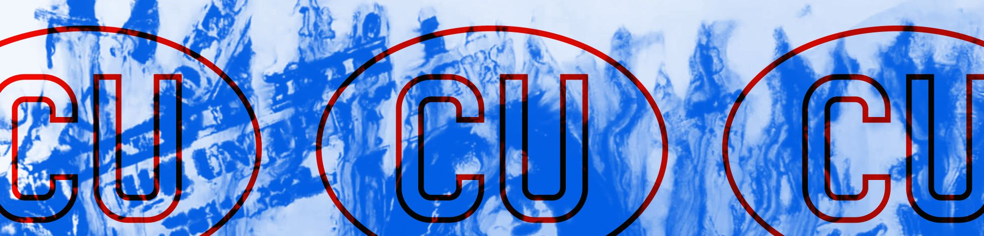 Abstract blue background which is overlaid with red ovals with CU written inside