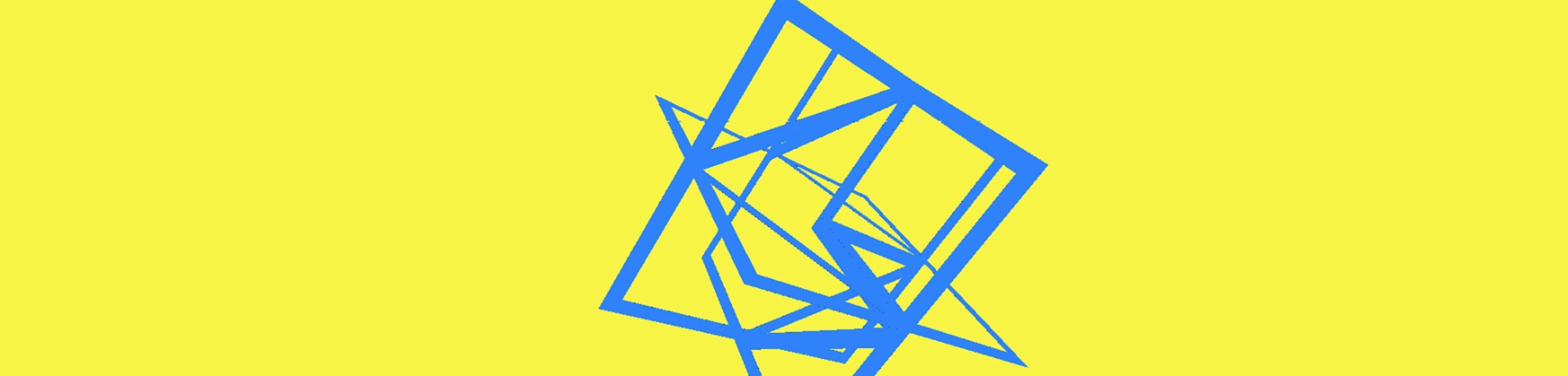A blue box on a bright yellow background