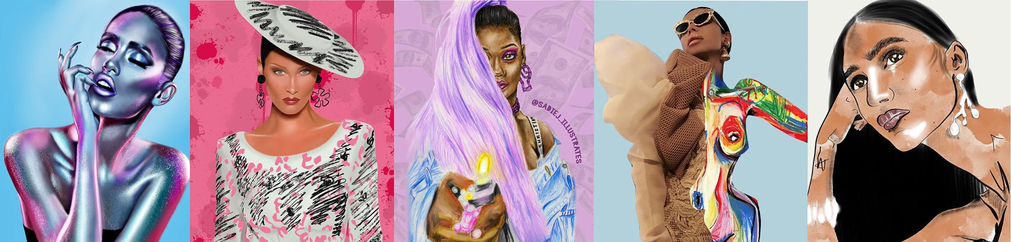 Compilation of five female fashion illustrations