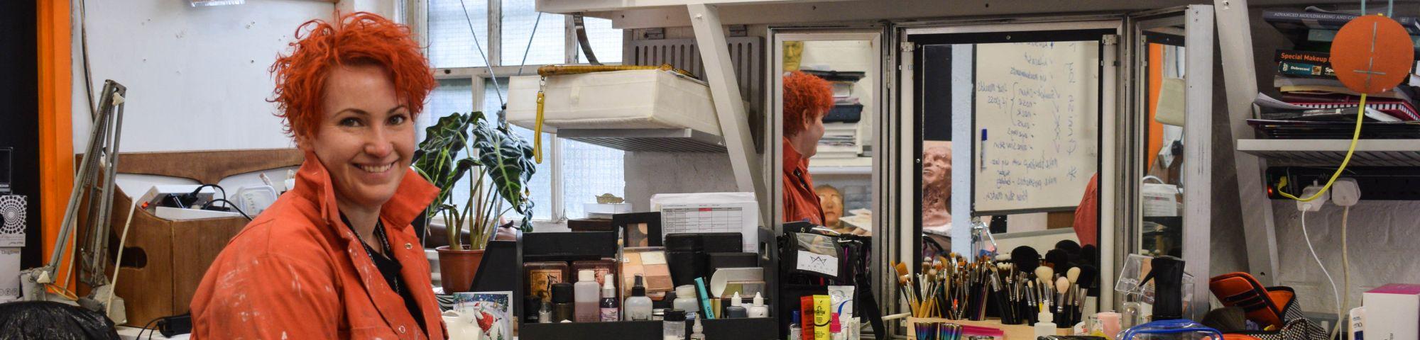 Jennifer Drew in her studio