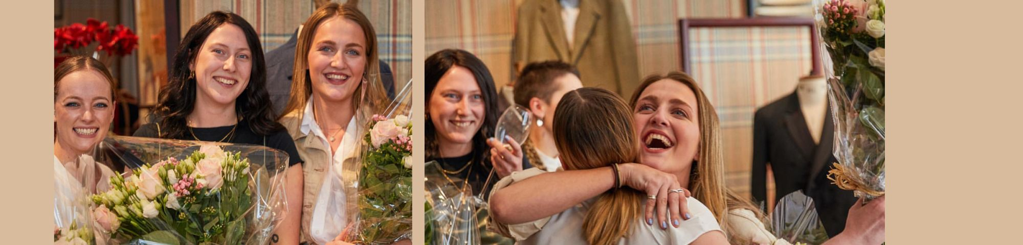 3 Female BA Bespoke Tailoring students with flowers after receiving award