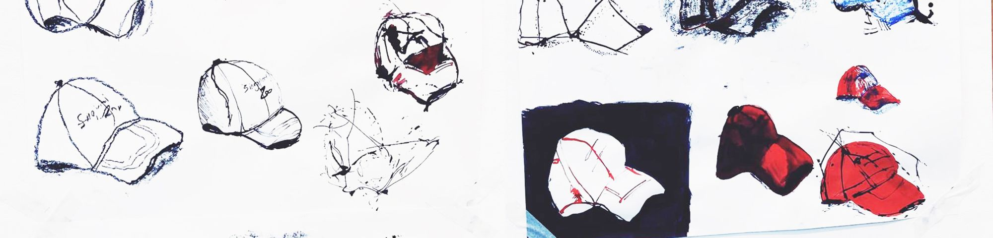 Illustrations of a baseball cap in different drawing styles attempted.