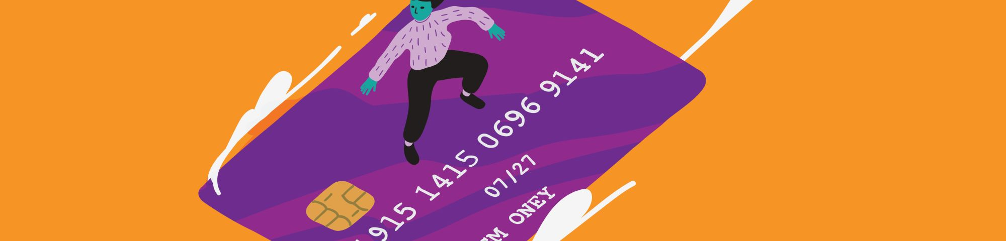 An illustration of someone surfing on a credit card