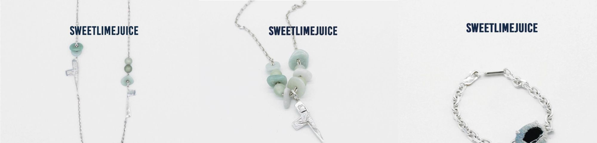 Three pictures of Sweet Lime Juice jewellery
