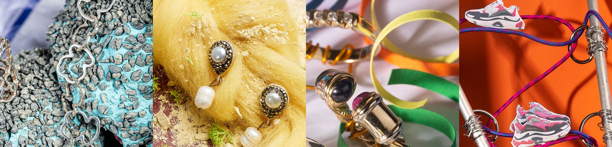 Work by Visual Merchandising - Interiors students, taken by Sarah Manning. 4 photographs (left to right), a chain sitting on blue and grey rocks. Earrings pinned to yellow hair like material. Gold rings among colourful ribbon and photographed pairs of trainers sitting on USB cable.