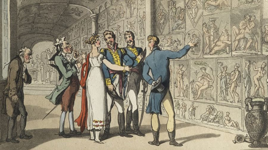 Historical illustration of people in museum.