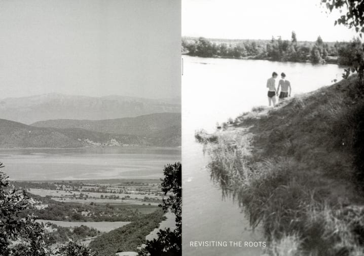 two black and white photos of a lake