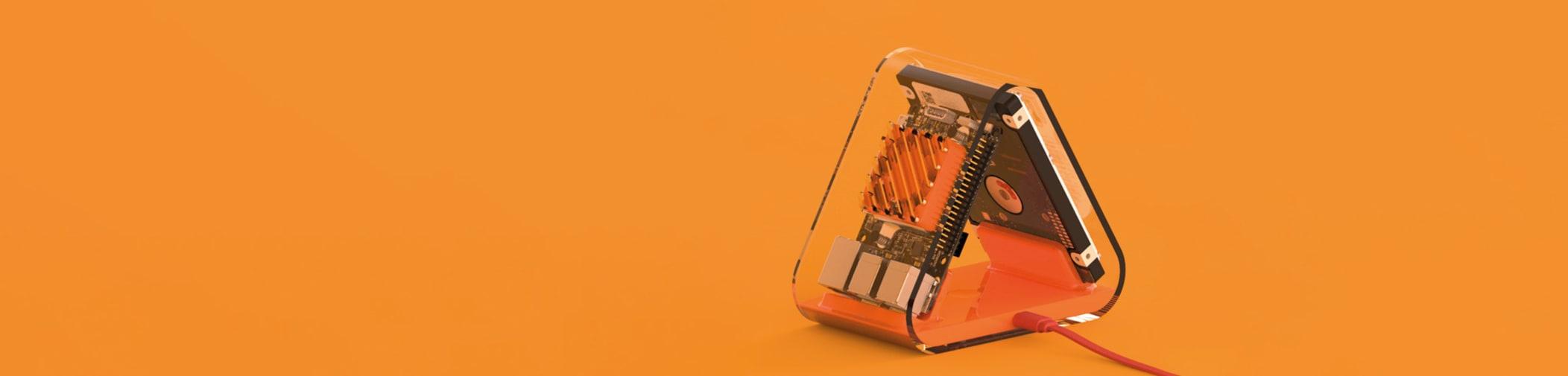 Sculpture on orange background