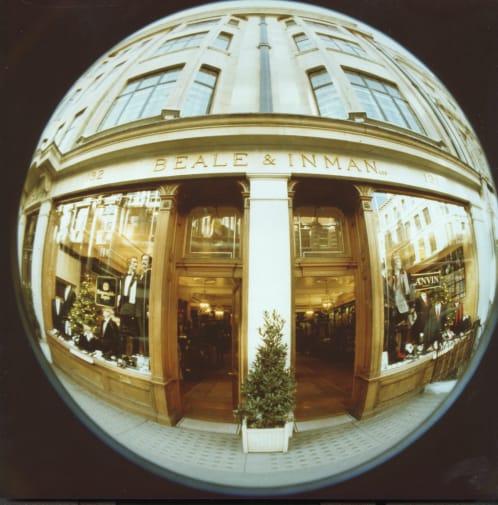 image of a shop front through a fish eye lens
