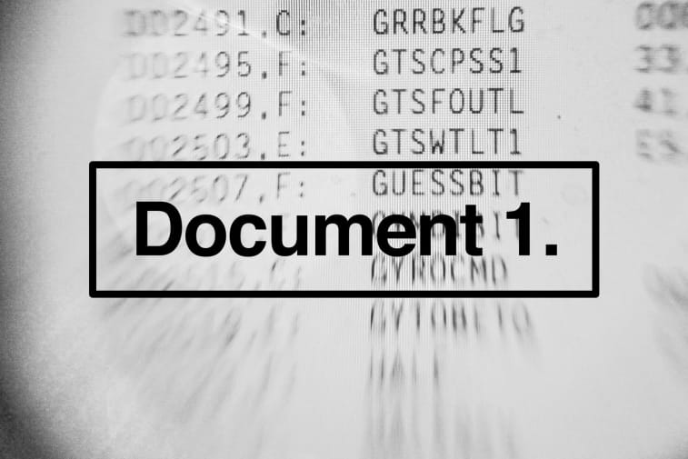 'Document 1' Text in foreground on white background with numbers