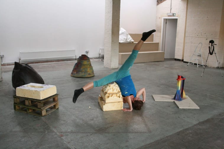 'Playful Menace Dance & Sculpture R&D rehearsal with dancer Abigail Kessel' 2015 – photo – Guest Projects/Shonibare Studios