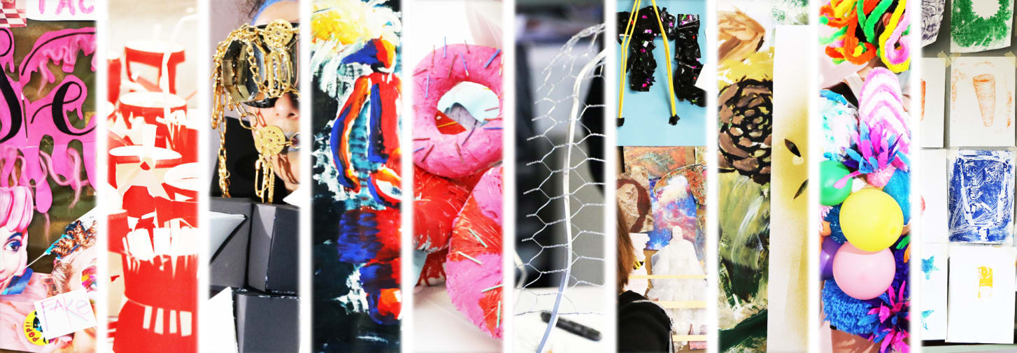 Examples of art and design and fashion design and styling work made by teenagers.