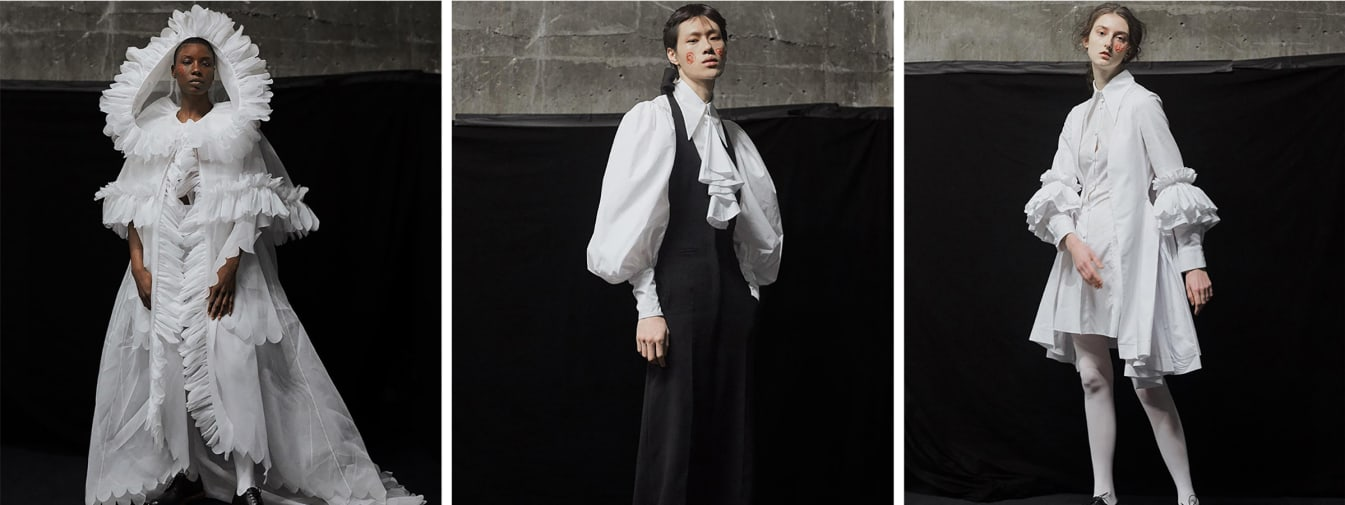 Models wearing white pleated shirting