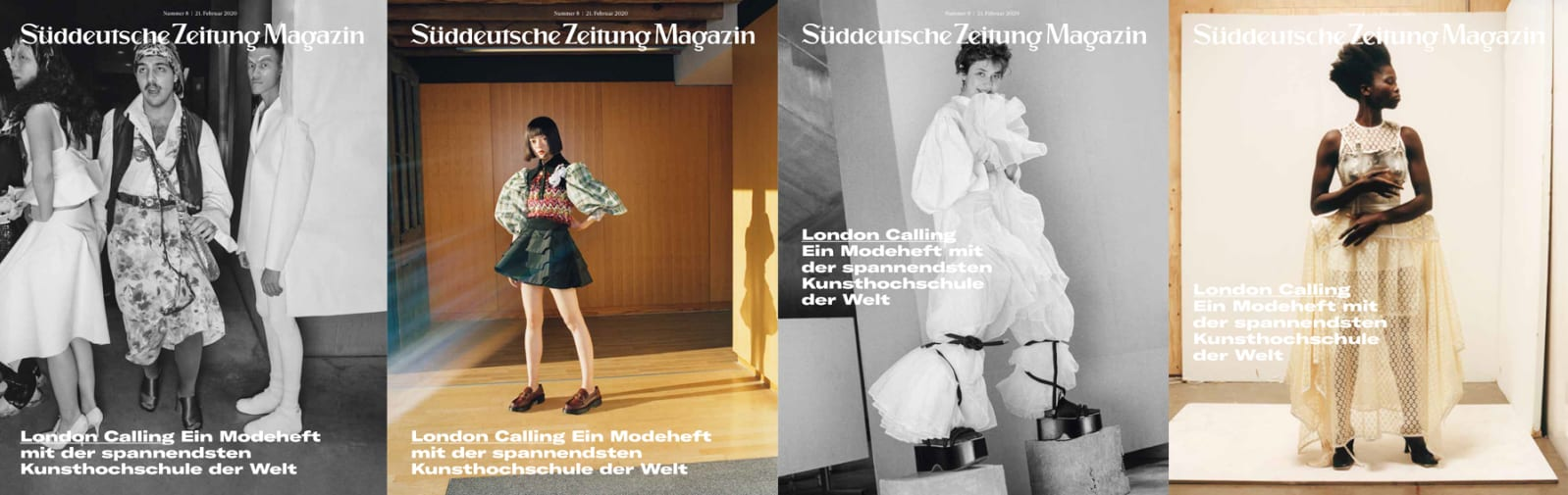 Four covers of SZ magazine showing four different portraits