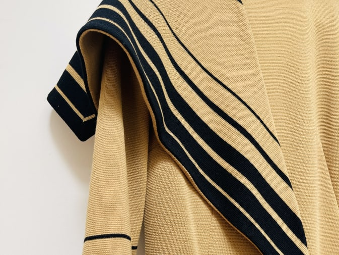 woolen dress with horizontal stripe
