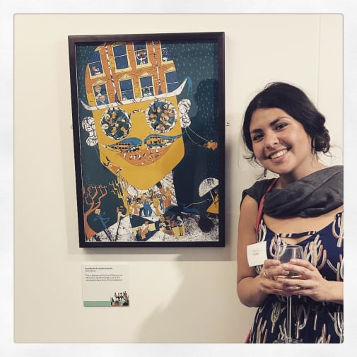 Paula Rivas with her short listed piece for The Prize of Illustration 2017 – Sound of the City