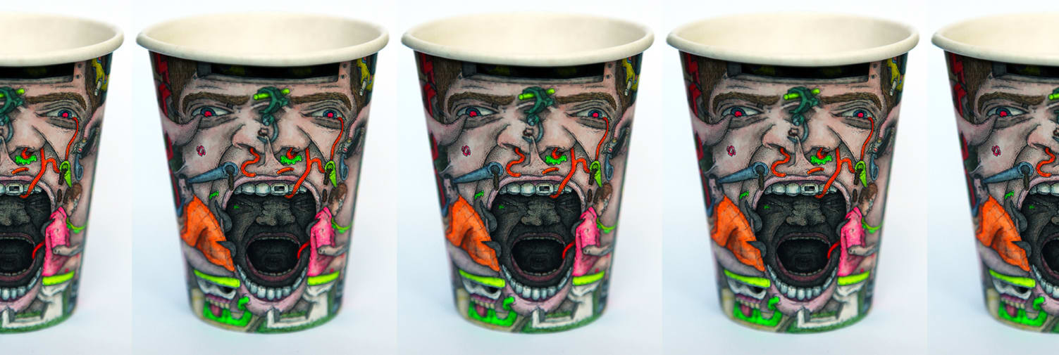 Drawing on paper cups by Paul Westcombe.