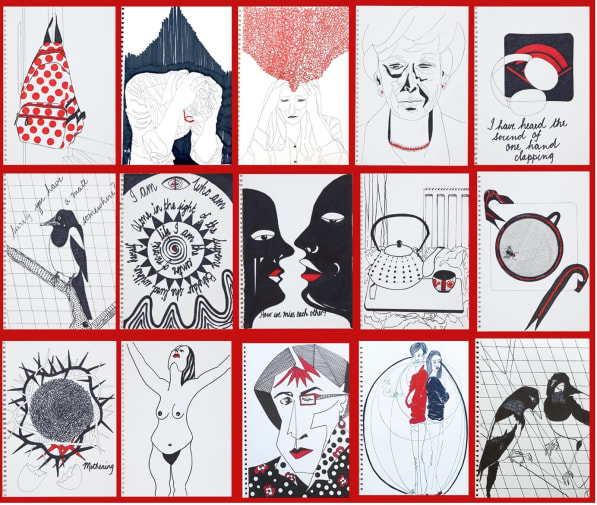 A series of 15 paintings all using red, white and black