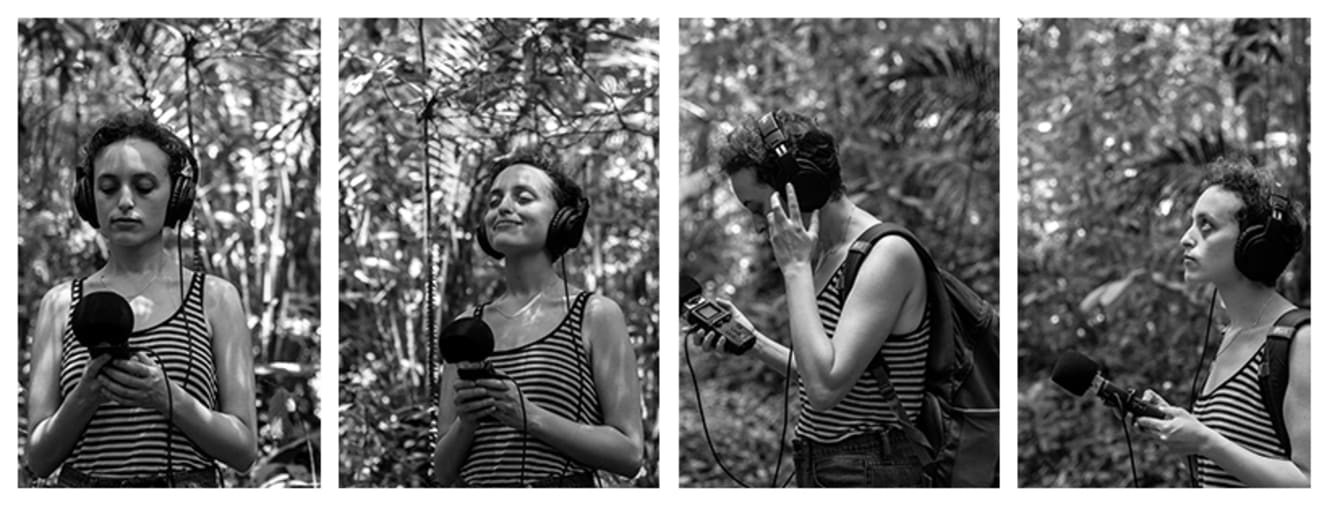 Yifeat Ziv in 4 separate images holding mic in rainforest