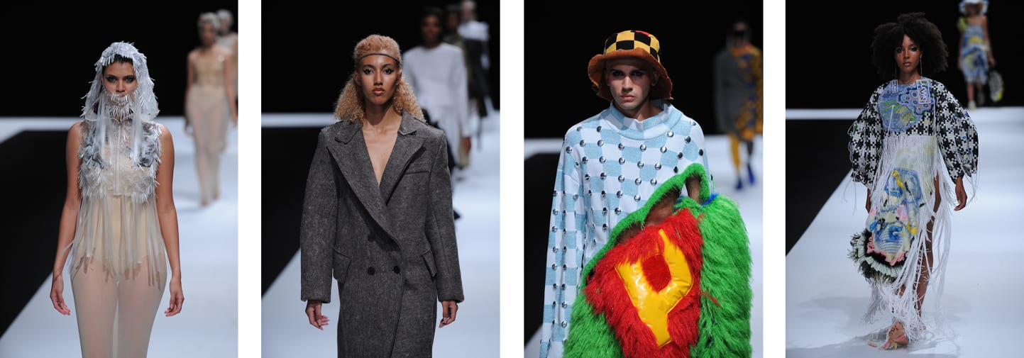 4 images of male and female catwalk models dressed in colourful and unique clothing