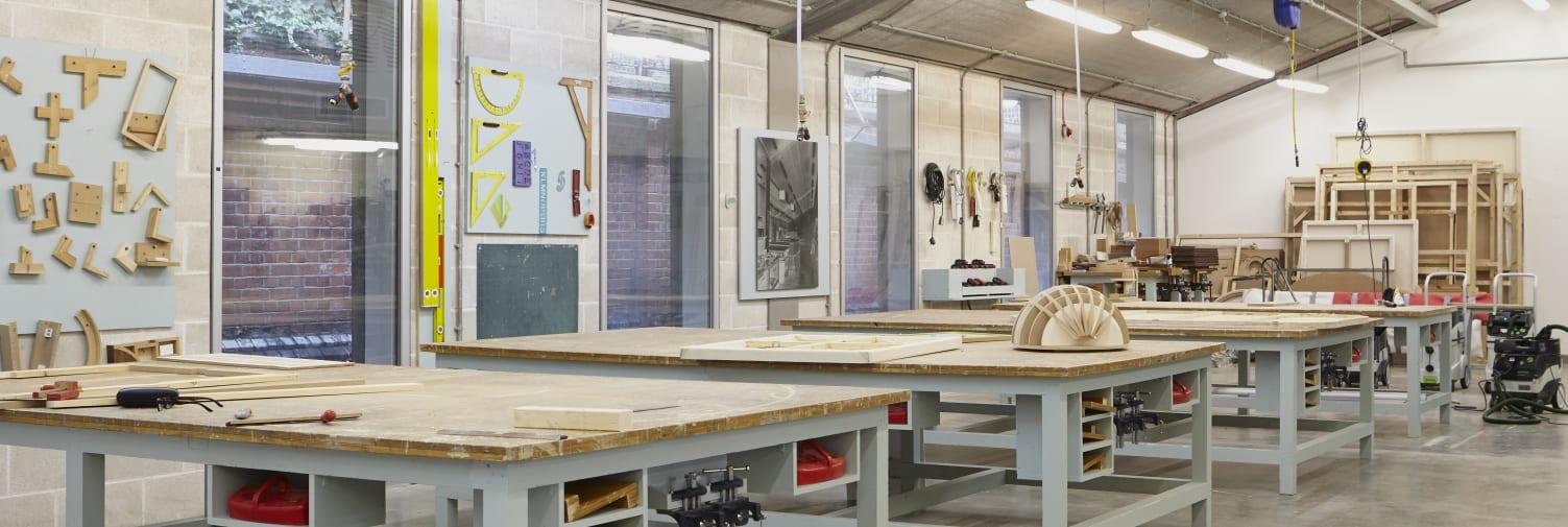 Chelsea College of Arts wood workshop.