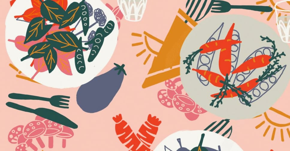 Graphic depicts stylised fruit and vegetables.