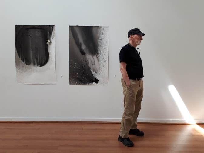 Lance Olsen at his exhibition in Canada