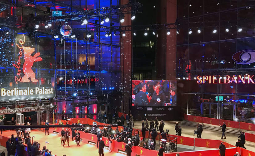 The glittering entrance hall of a red carpet event at the Berlin Film Festival.