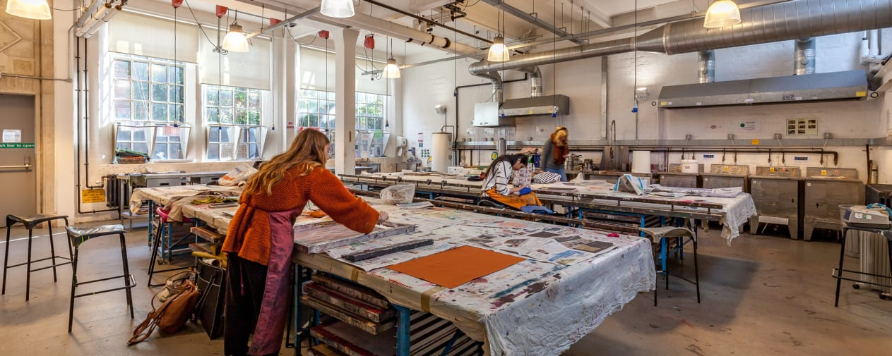 Students in the print workshops at Lime Grove