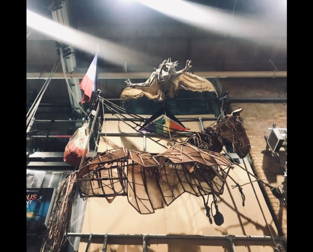An image of a prop from 'War Horse' hanging on a wall