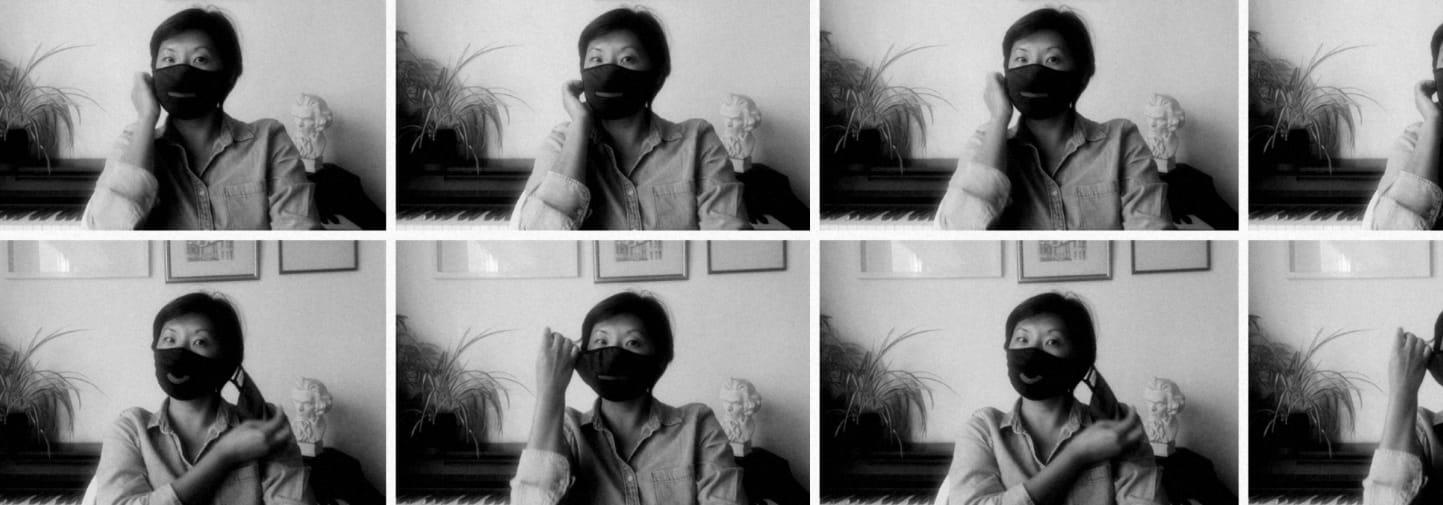 6 photos of Beatrix Ong MBE wearing a face mask