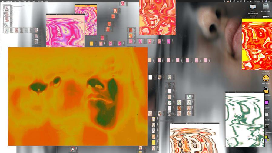 Femi Adeleye, BA Fine Art, progression of a printer scanner portrait