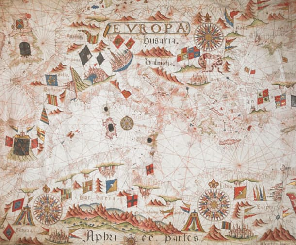 Portolan chart by Giorgio Sideri, also known as Callapoda