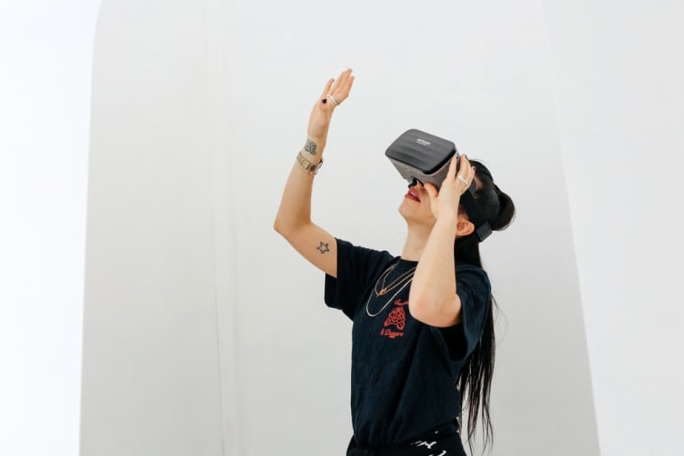 Girl wearing a VR headset
