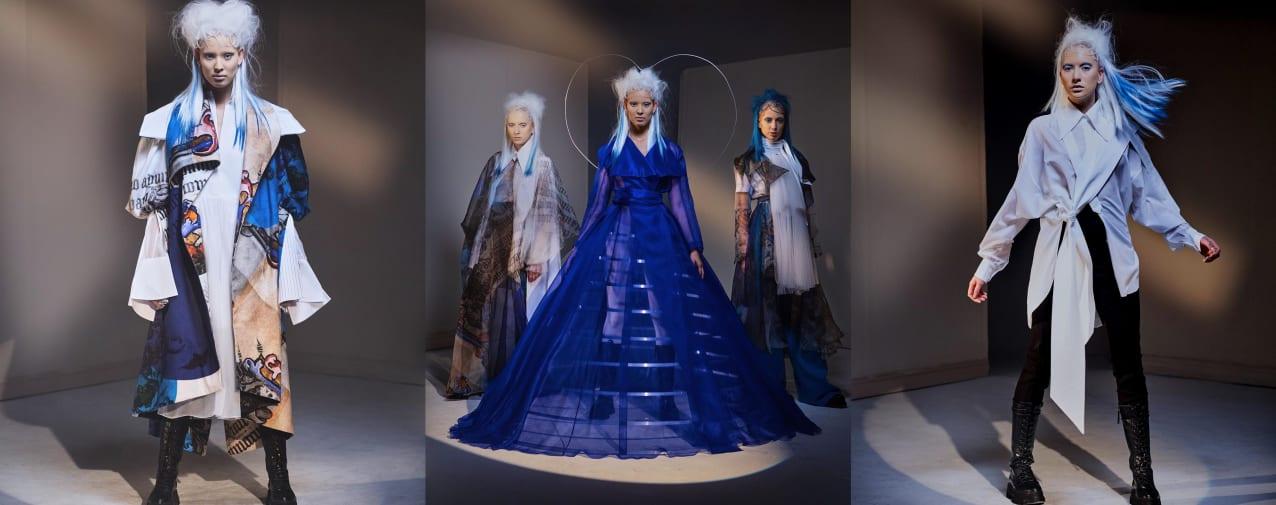 Three models wearing Nabil El Nayal collection 2020