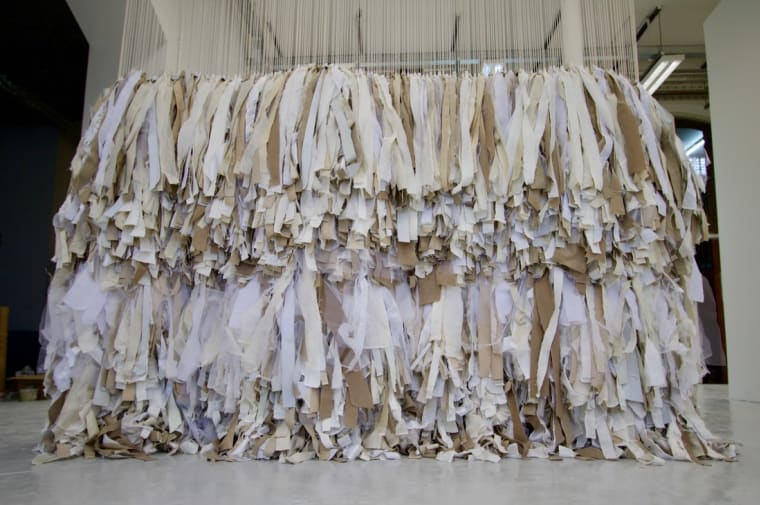 Steffy-Luise Dyer – 3,375 Rye Knots  Recycled textiles, warehouse residue, studio residue, string, wood, nails, 179 hours 59 minutes 195CM X 290CM