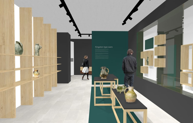 design mockup of a musem with shelving and people