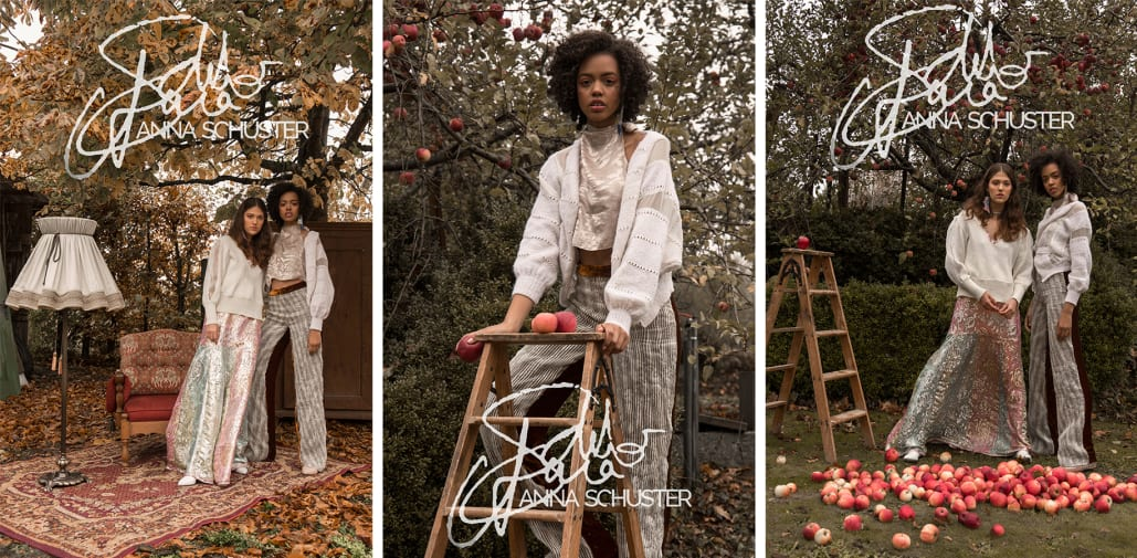 Multipe images of two models standing in an autumnal field
