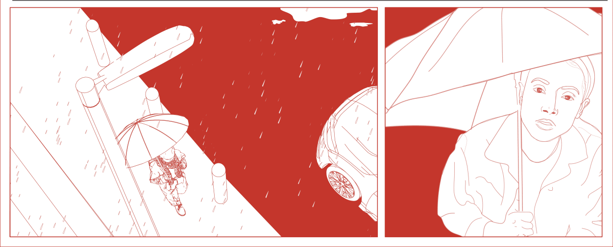 Illustration in red and white
