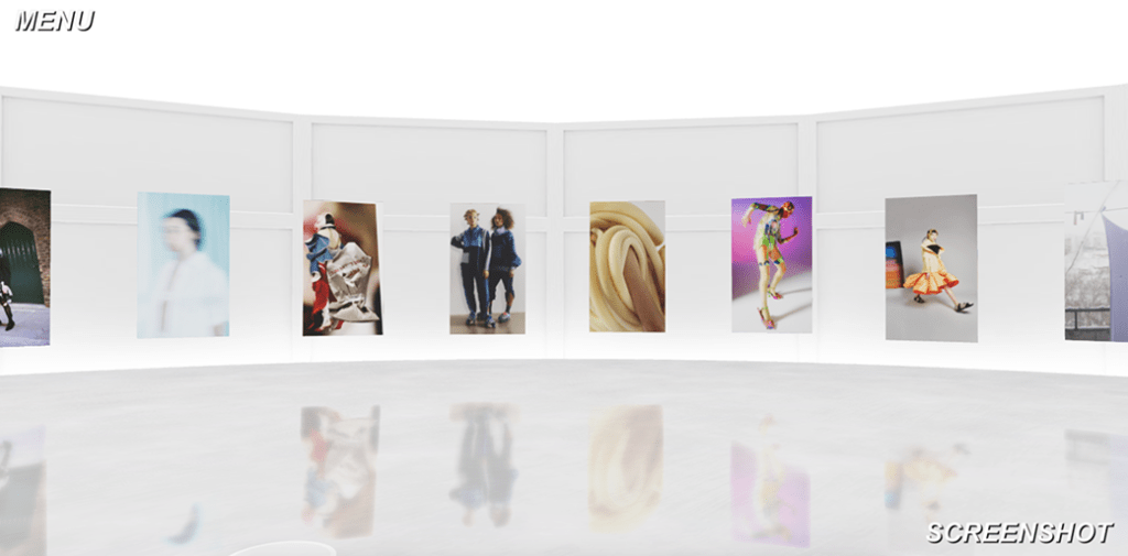 Digital white space with several images placed on wall
