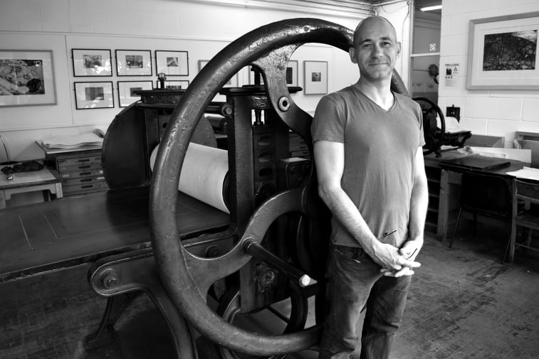 Brian Hodgson pictured in the Etching studio at Camberwell