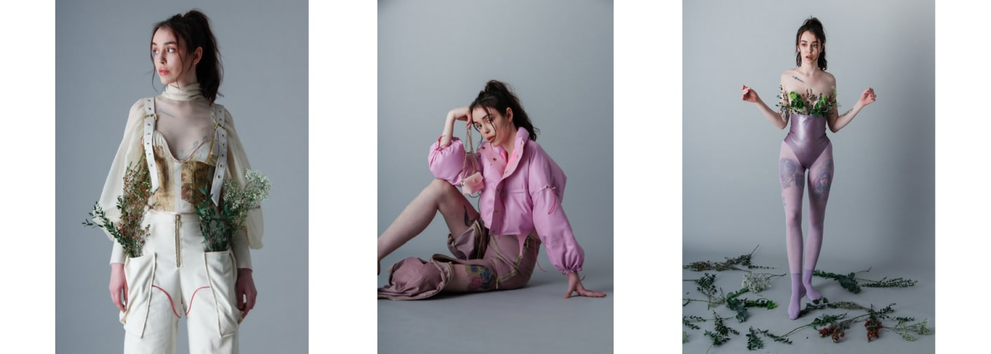 Three images combined of a model wearing pink clothing with ivy entwined