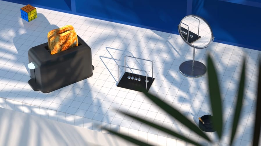 Realistic digital illustration of a table with a toaster, Newton's Cradle desk pendulum, a mirror and Rubik's cube on it