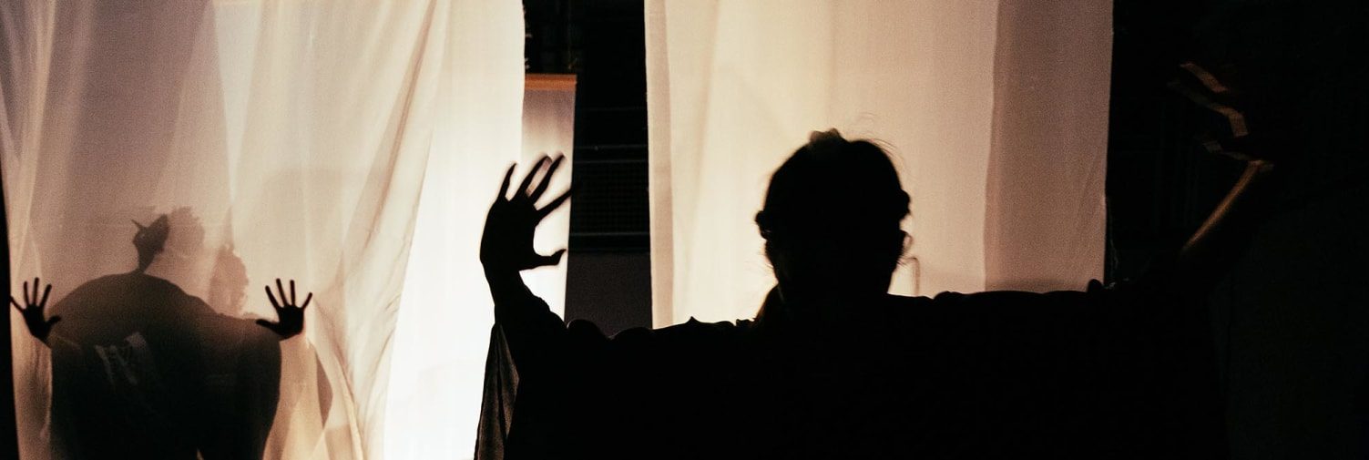Two performers with their arms and hands up are silhouetted against white gauze curtains lit brightly from the back of a stage.